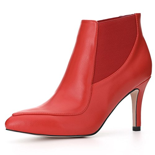 Allegra K Women's Stiletto Heel Chelsea Booties Orange Red