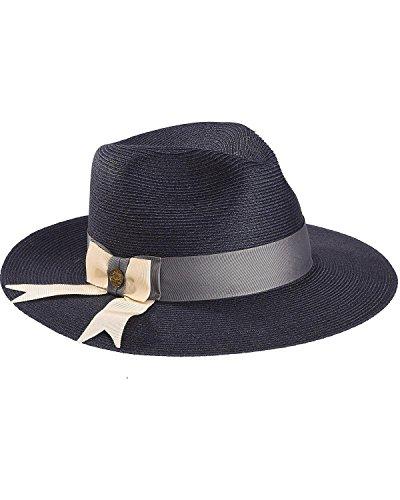Stetson Women's Cat's Meow Hemp Braid Fedora Hat Navy Small