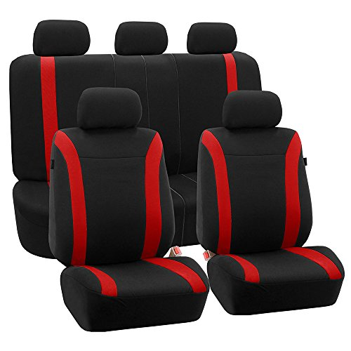 FH Group FH-FB054115 Red Cosmopolitan Flat Cloth Seat Covers, Airbag Compatible and Split Bench, Red/Black Color -Fit Most Car, Truck, SUV, or Van