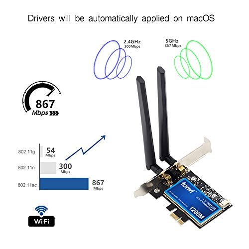 for PC MacOS WiFi & BT WiFi Card 802.11a/g/n/ac WLAN + BT 4.0 PCI-E PCI Network Adapter mac-Compatible Wi-Fi AirDrop Handoff Instant Hotspot macOS MIMO 2x2 Mac OS X natively Supported BCM4360 AC1200