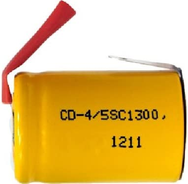 900 mAh 1//2 Sub C NiCd Battery with Tabs