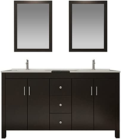 ARIEL K072D -ESP Hanson 72 Solid Birch Wood Double Sink Bathroom Vanity Set In Espresso, Black Granite Countertop, Backsplash, 2 Integrated Sinks, 4 Soft Closing Doors, 3 Drawers and Two Mirrors