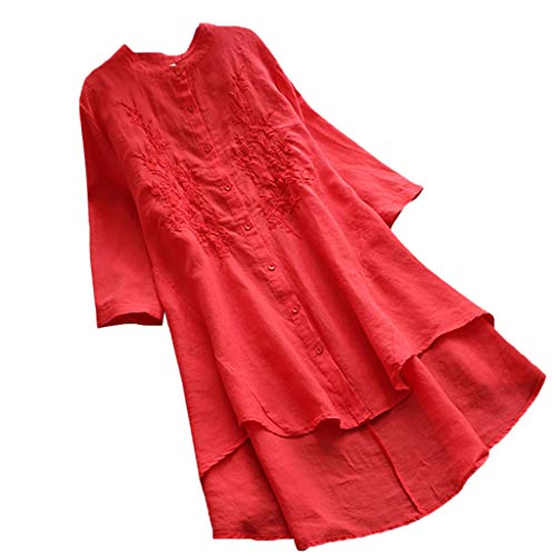 LUCA Womens Vintage Blouse Short-Long Sleeve Casual Long Shirt Top Plus Size