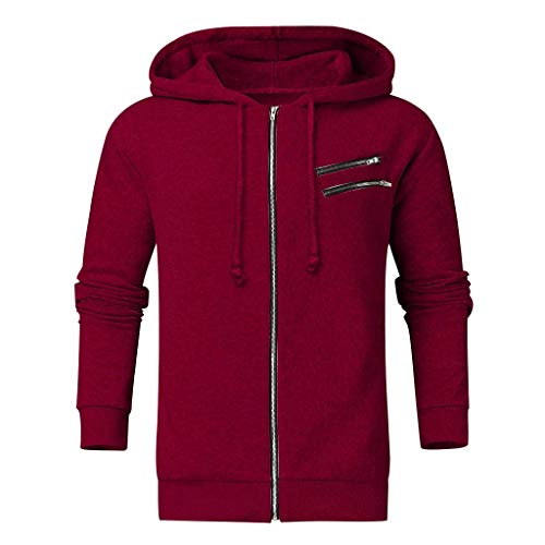 Holzkary Men's Full Zip Hooded Jacket Lightweight Warm Lined Hoodie Coat with Drawstring