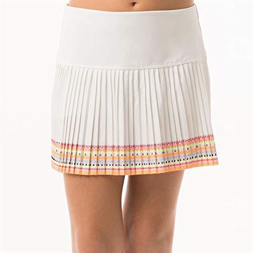 Lucky In Love Girls Neon Vibes Neon Border Pleat Skirt - White/Coral Crush Print - Medium