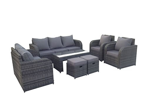 Yakoe 9 Seater Rattan Garden Furniture Set Sofa Reclining Chairs Conservatory Outdoor - Grey