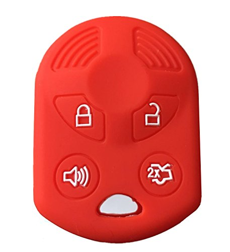 KAWIHEN Silicone Keyless Entry Case Cover Smart Remote Key Fob Cover Protector For Ford Lincoln Mercury 4 buttons OUCD6000022 164-R8046 164-R7040 CWTWB1U722 (Red)