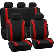FH GROUP FH-FB054115 Red Cosmopolitan Flat Cloth Seat Covers, Airbag compatible and Split Bench, Red / Black Color -Fit Most Car, Truck, Suv, or Van