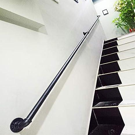 30~600cm Longueur en Option SACKDERTY-Mains courantes Main Courante de s/écurit/é descalier Murale Kit Complet de Rampe Tubulaire Noire Industrielle Barre de Support pour Porte-Serviettes
