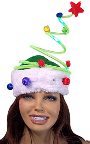 Christmas Tree LED Light Up Spring Holiday Party Hat (Silly Hats)