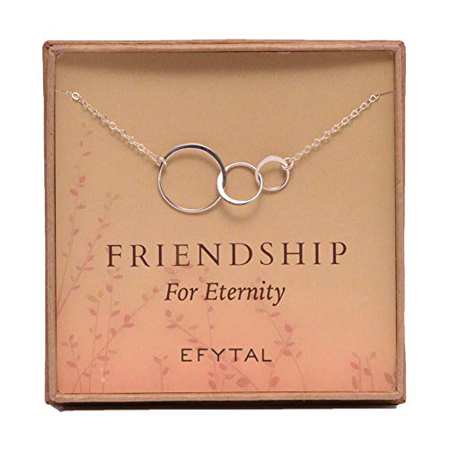 EFYTAL Three Friend Necklace, Sterling Silver Friendship Interlocking Infinity Circles Gift for 2-3 Best Friends