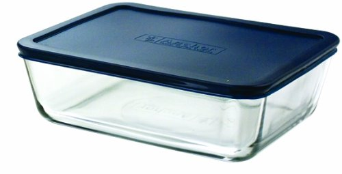 Anchor Hocking 11-Cup Rectangular Food Storage Containers with Blue Plastic Lids, Set of 2