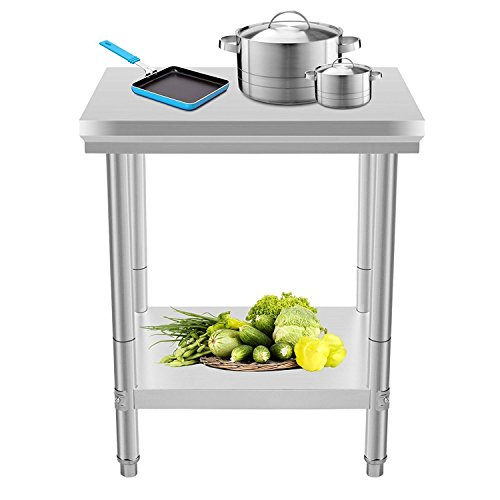 Mophorn Stainless Steel Work table 24 x 24 Inch Food Work Prep Table Work table for restaurant kitchen Home Warehouse by Mophorn