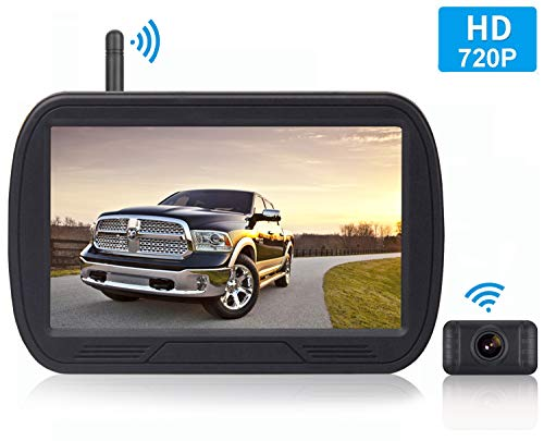 HD Digital Wireless Backup Camera System 5 Inch LCD Monitor for Trucks,Cars,SUVs,Pickups,Vans,Campers Front Rear View Camera Super Night Vision Waterproof Easy Installation