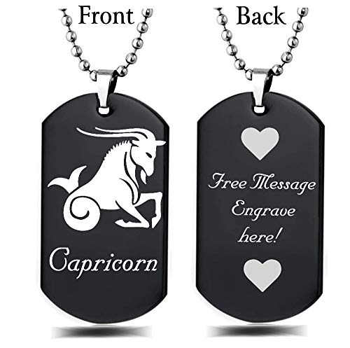 Personalized Zodiac Horoscope Sign Custom Message Engraved on Back Stainless Steel Necklace Dog Tag Pendant with 24 inch Chain,Velvet Giftpouch and Keyring (Black Capricorn)
