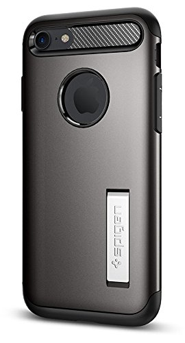 Spigen Slim Armor iPhone 7/iPhone 8 Case with Kickstand and Air Cushion Technology Hybrid Drop Protection for Apple iPhone 7 (2016)/iPhone 8 (2017) - Gunmetal