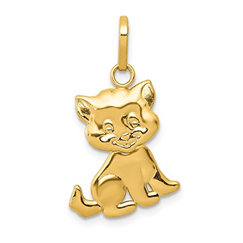 14k Yellow Gold Moveable Cat Pendant Charm Necklace Animal Giraffe Fine Jewelry For Women Gift Set (Yellow Cat Gold Charm)