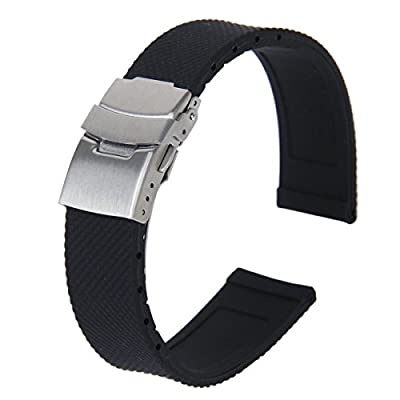 Tinksky 20mm Waterproof Silicone Watch Band Strap with Stainless Steel Deployment Clasp Buckle (Black) by Tinksky