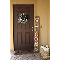 SmithFarmCo Wooden Welcome sign/signs for Front Porch/Front Door/Home Decor Made with Real Wood 5 feet Tall Large Rustic Fixer Upper Farmhouse Style (Rustic Barnwood)