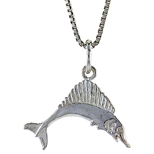 Sterling Silver Marlin Swordfish Pendant