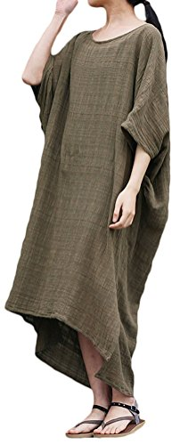 Soojun Women's Loose High-low Pure Cotton Dresses with Bawting Sleeve Army Green, One - Pure Cotton Limited