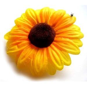 "(12) Silk Yellow Sunflowers sun Flower Heads , Gerber Daisies - 3"" - Artificial Flowers Heads Fabric Floral Supplies Wholesale Lot for Wedding Flowers Accessories Make Bridal Hair Clips Headbands Dress 26"
