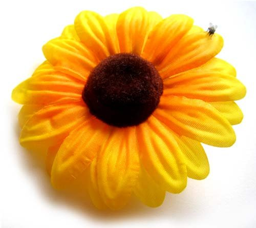 Make Fabric Flower ((12) Silk Yellow Sunflowers sun Flower Heads , Gerber Daisies - 3