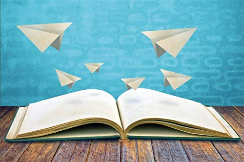 CSFOTO 10x7ft Background Fantasy Opened Book with Paper Plane On Wood Floor Photography Backdrop Learn Knowledge Reading Let Your Dream Fly Child Kid Portrait Photo Studio Props Vinyl Wallpaper