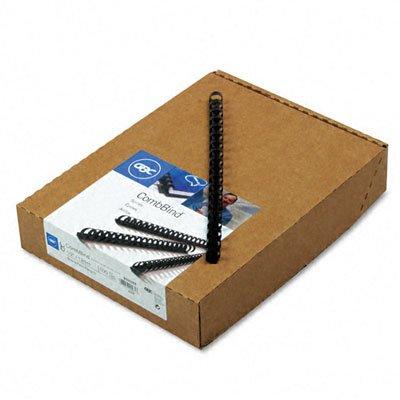 GBC (R) CombBind 19-ring canutillos de plástico, 1/2in., 85-sheet capacidad, color negro, caja de 100