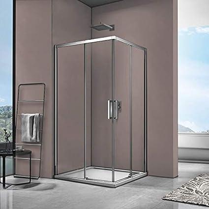 SPAZIO Space Box - Ducha esquinera con 2 Puertas correderas Reversibles, 80 x 100 cm, con Plato de Ducha: Amazon.es: Hogar