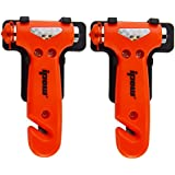 2 Pack of IPOW Car Safety Antiskid Hammer Seatbelt Cutter Emergency Class/Window Punch Breaker Auto Rescue Disaster Escape Life-Saving Hammer Tool,Small