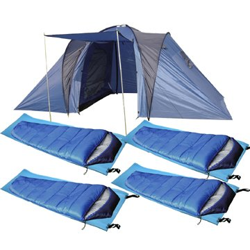 Confidence 4 Man C&ing Set - 4 Man Tent + Sleeping Bags Mats Amazon.co.uk Sports u0026 Outdoors  sc 1 st  Amazon UK & Confidence 4 Man Camping Set - 4 Man Tent + Sleeping Bags Mats ...