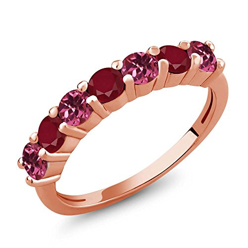 1.26 Ct Round Pink Tourmaline Red Ruby 18K Rose Gold Plated Silver Anniversary Ring