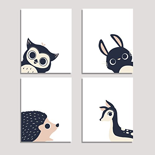 - Peeking Animal Collection, Children's Wall Art Prints, Set of Four 11x14 Prints, Forest Nursery, Gender Neutral Nursery Decor, Rabbit, Deer, Owl, Hedgehog Decor, Woodland Nursery, Baby Room Decor