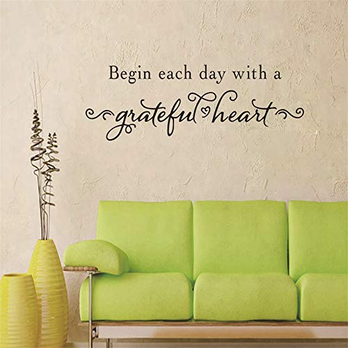 wuenan Wall Art Decor Decals Removable Mural Begin Each Day with A Grateful Heart Life Quote for Kids Room Decorations for Living Room Bedroom Button Bear Wall Border