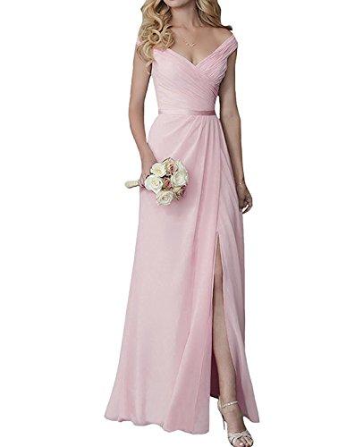 off shoulder chiffon bridesmaid dress - 6