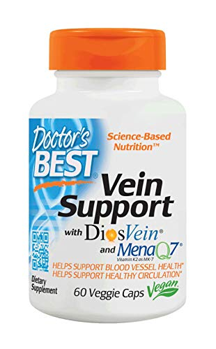 Doctor's Best Vein Support with DiosVein and MenaQ7, Non-GMO, Gluten Free, Vegan, Soy Free, 60 Veggie Caps