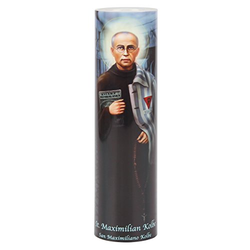 THE SAINTS GIFT COLLECTION St Maximilian Kolbe LED Flameless Candle with 6 Hour Timer for Devotional and Prayer Time