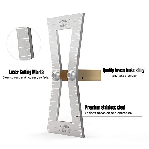 REFURBISHHOUSE Dovetail Marker Hand Cut Wood Joints Gauge Dovetail Guide Tool with Scale Dovetail Template Size 1: 5-1: 6 and 1: 7-1: 8 for Woodworking Silver