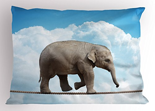Ambesonne Elephant Decor Pillow Sham, African Animal Walking Balancing on String Clouds Risky Inspirational Print, Decorative Standard Size Printed Pillowcase, 26 X 20 inches, Grey Blue by Ambesonne