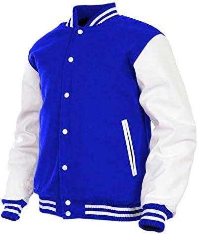 Genuine Leather Sleeve Letterman College Varsity Men Wool Jackets #CRSL-YSTR-BB