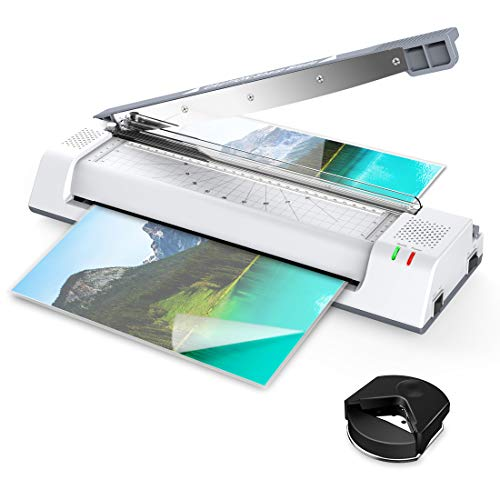 (ABOX 13'' OL381 Thermal Laminator Machine for A3/A4/A6,Two Roller System,Jam-Release Switch,Cutter and Safety Lock,Fast Warm-up,Quick Laminating Speed for Home/Office/School,with 16 Pouches)
