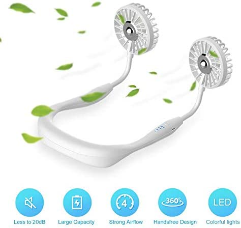 W//Led and Aroma Spong Black 2020 3 Speed Adjustable Neckband Hand Free Personal Fan USB Mini Neck Double Fans Sports Rest Fan Latest Design 2000Mah