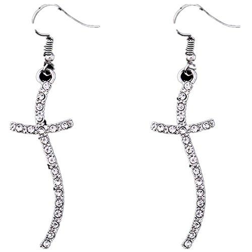 Black Friday Deals 2017 Fashion Silver Plate Crystal Cross Dangle Earrings 2.56