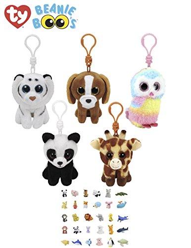 Stuffed Animals Beanie Boos Clips Keychain Plush Toys Bundle Tiger, Dog, Owl, Giraffe & Panda with One Bonus Animal Puzzle Eraser