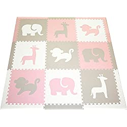 "SoftTiles Children's Playmat- Safari Animals- Premium Interlocking Foam Large Floor Tiles for Girls Playroom and Baby Nursery 78"" x 78"" (Light Pink, Light Gray, White) SCSAFWCH"