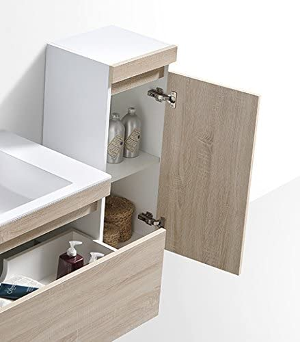 Seitenschrank Front Eiche hell Spiegel optional Badmöbel Set Easy 600 Weiß inkl
