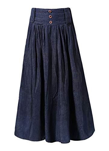 chouyatou Women's Wide Waistband A-Line Pleated Big Hem Denim Jean Maxi Long Skirt (Medium, Dark Blue)