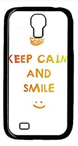 Samsung Galaxy S4 I9500 Black Hard Case - D Keep Calm And Smile Galaxy S4 Cases