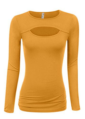 Mustard Long Sleeve Shirt Women Mustard Yellow Top Mustard Sexy Tops for Women (Size XX-Large, Mustard Long Sleeve)